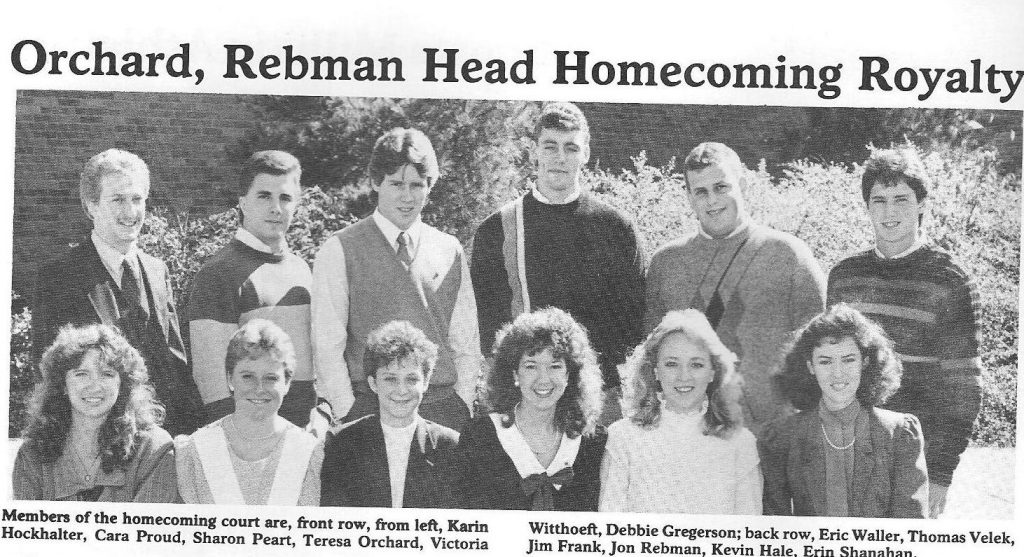 Millikin University Homecoming Court 1986. Me, first row, far left, maiden name, big hair. It was the 80s, what can I say? Absolutely terrified but so glad I did this for myself.