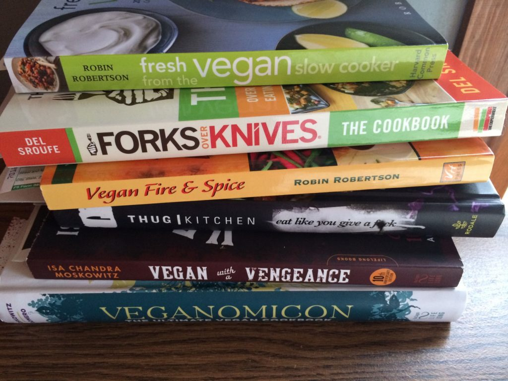 My Stack of Vegan Cookbooks