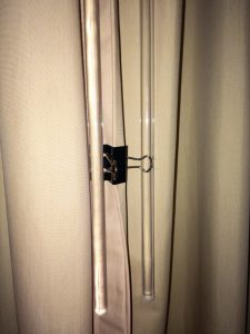 close the drape with binder clip