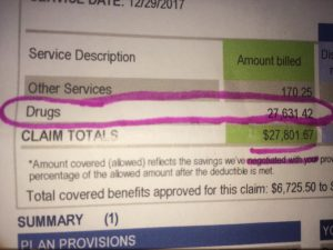 itemized insurance bill